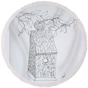 Bird In A Line Round Beach Towel