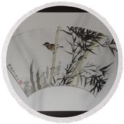 Bird In Bamboo- Fan Painting Round Beach Towel