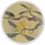 Bird In Loquat Tree Round Beach Towel