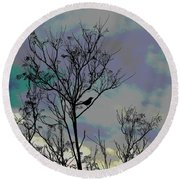 Bird In Tree Silhouette Iv Abstract Round Beach Towel