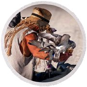 Bird Man Round Beach Towel