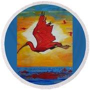 Bird Of Beauty, Loves Light In Flight Round Beach Towel