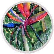 Bird From Paradise Round Beach Towel