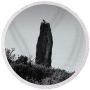 Bird On A Standing Stone Round Beach Towel