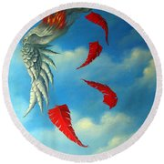 Bird On Fire Round Beach Towel