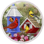 Bird Painting - Primary Colors Round Beach Towel by Crista Forest