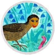 Bird People Blackbird And Worm Round Beach Towel