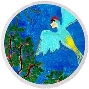 Bird People Green Woodpecker Round Beach Towel
