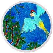 Bird People Green Woodpecker Round Beach Towel