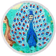 Bird People Peacock King And Peahen Round Beach Towel