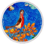 Bird People Robin Round Beach Towel by Sushila Burgess