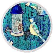 Bird People The Bluetit Family Round Beach Towel by Sushila Burgess