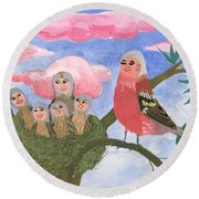 Bird People The Chaffinch Family Round Beach Towel