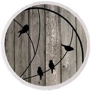 Bird Silhouettes On The Fence Round Beach Towel