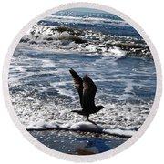 Bird Taking Flight On The Shore Round Beach Towel