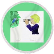 Bird Watcher Round Beach Towel