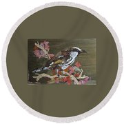 Bird White Eye Round Beach Towel