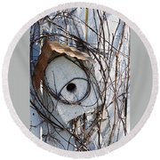 Birdhouse Brambles Round Beach Towel