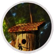 Birdhouse Round Beach Towel