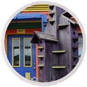 Birdhouses For Colorful Birds 2 Round Beach Towel