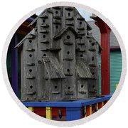 Birdhouses For Colorful Birds 4 Round Beach Towel