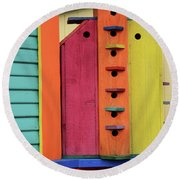 Birdhouses For Colorful Birds 5 Round Beach Towel