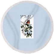 Birds 05 Varied Thrush On Arbutus Robert Bateman Sqs Robert Bateman Round Beach Towel