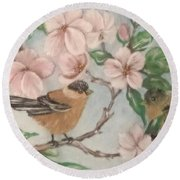 Birds And Blossoms Round Beach Towel