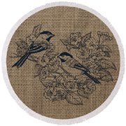Birds And Burlap 1 Round Beach Towel
