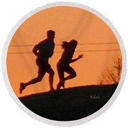 Birds And Fun At Butler Park Austin - Jogging - Sunset Run Round Beach Towel