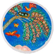 Birds And Nest In Flowering Tree Round Beach Towel