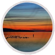 Birds At Dawn By The Buoy  Round Beach Towel