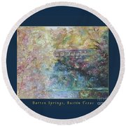Birds Boaters And Bridges Of Barton Springs - Autumn Colors Pedestrian Bridge Greeting Card Poster Round Beach Towel