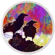 Birds Crow Black  Round Beach Towel