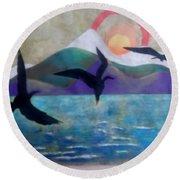 Birds Round Beach Towel