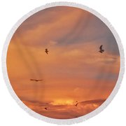 Birds Eye Of The Sunset Round Beach Towel