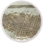 Birds Eye View Of Charleston Round Beach Towel