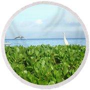 Bird's-eye View Of Hawaii Round Beach Towel