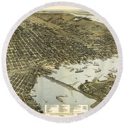 Birds Eye View Of Jacksonville Florida 1893 Round Beach Towel