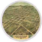 Bird's Eye View Of The City Of Huntsville, Madison County, Alabama 1871 Round Beach Towel