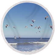 Birds Flying Over The Sea, Flagler Round Beach Towel
