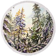 Birds Hill Park One Late Afternoon In January Round Beach Towel