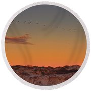 Birds In Flight At Sunrise Round Beach Towel