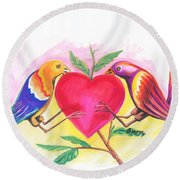 Birds In Love 01 Round Beach Towel