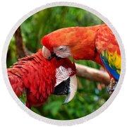 Birds In Love Round Beach Towel