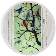 Birds In The Tree Framed Round Beach Towel