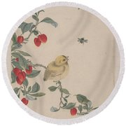 Birds Insects And Flowers Round Beach Towel