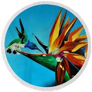 Birds Of Paradise With White Necked Jacobin Hummingbird Round Beach Towel