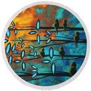 Birds Of Summer By Madart Round Beach Towel