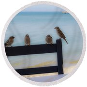 Birds On A Chair Round Beach Towel